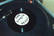 Blank vinyl with simple name written in black pen, Sound Systems, London, U.K, 2000.