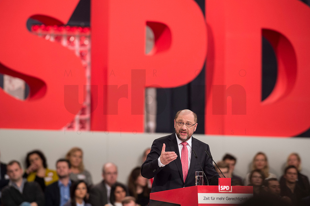 19 MAR 2017, BERLIN/GERMANY:<br /> Martin Schulz, SPD, haelt seine Rede vor seiner Wahl zum SPD Parteivorsitzenden und SPD Spitzenkandidat der Bundestagswahl, a.o. Bundesparteitag, Arena Berlin<br /> IMAGE: 20170319-01-024<br /> KEYWORDS: party congress, social democratic party, candidate, speech