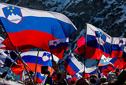 Flags of Slovenia during Ski Flying Hill Team Competition at Day 3 of FIS Ski Jumping World Cup Final 2016, on March 19, 2016 in Planica, Slovenia. Photo by Vid Ponikvar / Sportida
