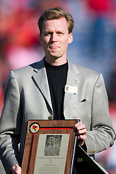 "17 October 2009: Kurt Pegler gets the Campbell ""Stretch"" Miller Award and is admitted to the Redbird Hall of Fame. The Indiana State Sycamores tumble to the Illinois State Redbirds 38-21 at Hancock Stadium on campus of Illinois State University in Normal Illinois"