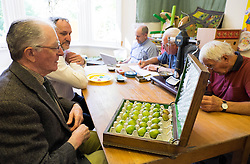 © Licensed to London News Pictures.04/08/15<br /> Egton, UK. <br /> <br /> <br /> Judge BRYAN NELLIST (L) opens a box containing an entry into the annual Egton Gooseberry Show. <br /> There are only two Gooseberry societies left in the country. One in Cheshire and one at Egton in North Yorkshire. The annual show in Egton uses traditional Avoridupois scales to measure the weight of the berries and members of the society are fanatical about trying to grow the best berries each year. <br /> <br /> Photo credit : Ian Forsyth/LNP