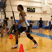 WNBA player Candice Wiggins, New York Liberty, undergoing physiotherapy and team training at the MSG training facility in Greenburgh, New York, USA. 27th July 2015. Photo Tim Clayton