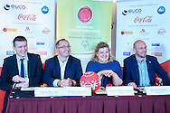 Warsaw, Poland - 2016 November 25: (L-R) Marcin Widomski (President of Polish Basketball League) and Grzegorz Bachanski (President of Polish Basketball Association) and Joanna Styczen - Lasocka (National General Director of Special Olympics Poland) and Miroslaw Krogulec (director sport's department of Special Olympics Europe/Eurasia) while Special Olympics Basketball Press Conference at Marriott Champions Sport Bar on November 25, 2016 in Warsaw, Poland.<br /> <br /> Adam Nurkiewicz declares that he has no rights to the image of people at the photographs of his authorship.<br /> <br /> Picture also available in RAW (NEF) or TIFF format on special request.<br /> <br /> Any editorial, commercial or promotional use requires written permission from the author of image.<br /> <br /> Image can be used in the press when the method of use and the signature does not hurt people on the picture.<br /> <br /> Mandatory credit:<br /> Photo by © Adam Nurkiewicz / Mediasport