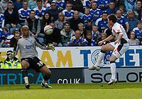 Photo: Steve Bond/Richard Lane Photography. Leicester City v Carlisle United. Coca Cola League One. 04/04/2009.  Michael Bridges (L) chips keeper Tony Warner to open the scoring