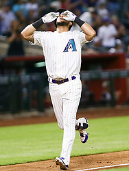 June 14, 2018 - Phoenix, AZ, U.S. - PHOENIX, AZ - JUNE 14: Arizona Diamondbacks right fielder David Peralta (6) celebrates after hitting a homer during the MLB baseball game between the Arizona Diamondbacks and the New York Mets on June 14, 2018 at Chase Field in Phoenix, AZ (Photo by Adam Bow/Icon Sportswire) (Credit Image: © Adam Bow/Icon SMI via ZUMA Press)