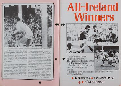 All Ireland Senior Hurling Championship Final, .06.09.1987, 09.06.1987, 6th September 1987, .Kilkenny v Galway, .Galway 1-12, Kilkenny 0-9,.06091987AISHCF, .Senior Kilkenny v Galway,.Minor Tipperary v Offaly,..The Irish Press, Evening Press, The Sunday Press,