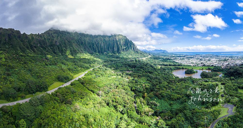 H-3 Freeway & the Koolau Mountains, Windward Oahu, Hawaii