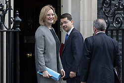 © Licensed to London News Pictures. 28/02/2017. LONDON, UK.  Home Secretary, Amber Rudd, with James Brokenshire arrives for a cabinet meeting at 10 Downing Street.  Photo credit: Vickie Flores/LNP