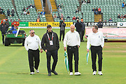 The umpires inspecting the pitch again at 3:30pm as the delay to the start of play due to rain continues with another inspection due at 4:30pm during the Specsavers County Champ Div 1 match between Somerset County Cricket Club and Essex County Cricket Club at the Cooper Associates County Ground, Taunton, United Kingdom on 25 September 2019.