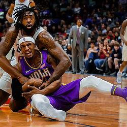 Jan 28, 2018; New Orleans, LA, USA; New Orleans Pelicans forward Dante Cunningham (33) and LA Clippers center DeAndre Jordan (6) battle for a loose ball during the first quarter at the Smoothie King Center. The Clippers defeated the Pelicans 112-103.  Mandatory Credit: Derick E. Hingle-USA TODAY Sports