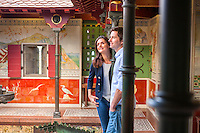 Couple looking around Roof Garden<br /> Cardiff Castle<br /> South<br /> Castles<br /> Historic Sites