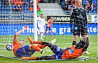 1. divisjon fotball 2018: Aalesund - Levanger (4-0). Aalesunds Holmbert Fridjonsson (t.v.) og Pape Habib Gueye etter at begge kjempet for å sette inn 3-0 i kampen i 1. divisjon i fotball mellom Aalesund og Levanger på Color Line Stadion. Målscorer ble Pape Habib Gueye. keeper Julian Faye Lund bak.