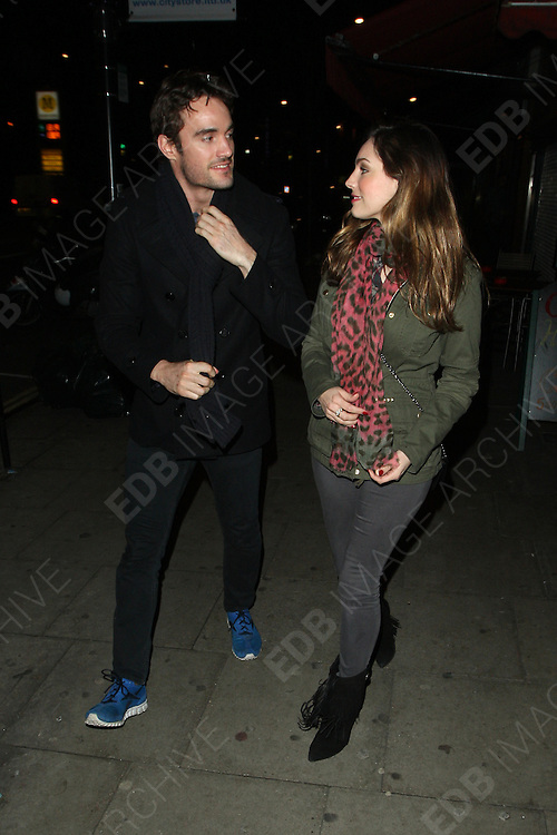 04.JANUARY.2013. LONDON<br /> <br /> KELLY BROOK AND THOM EVANS OUT IN CAMDEN AT THE COTTONS RHUM SHACK<br /> <br /> BYLINE: EDBIMAGEARCHIVE.CO.UK<br /> <br /> *THIS IMAGE IS STRICTLY FOR UK NEWSPAPERS AND MAGAZINES ONLY*<br /> *FOR WORLD WIDE SALES AND WEB USE PLEASE CONTACT EDBIMAGEARCHIVE - 0208 954 5968*
