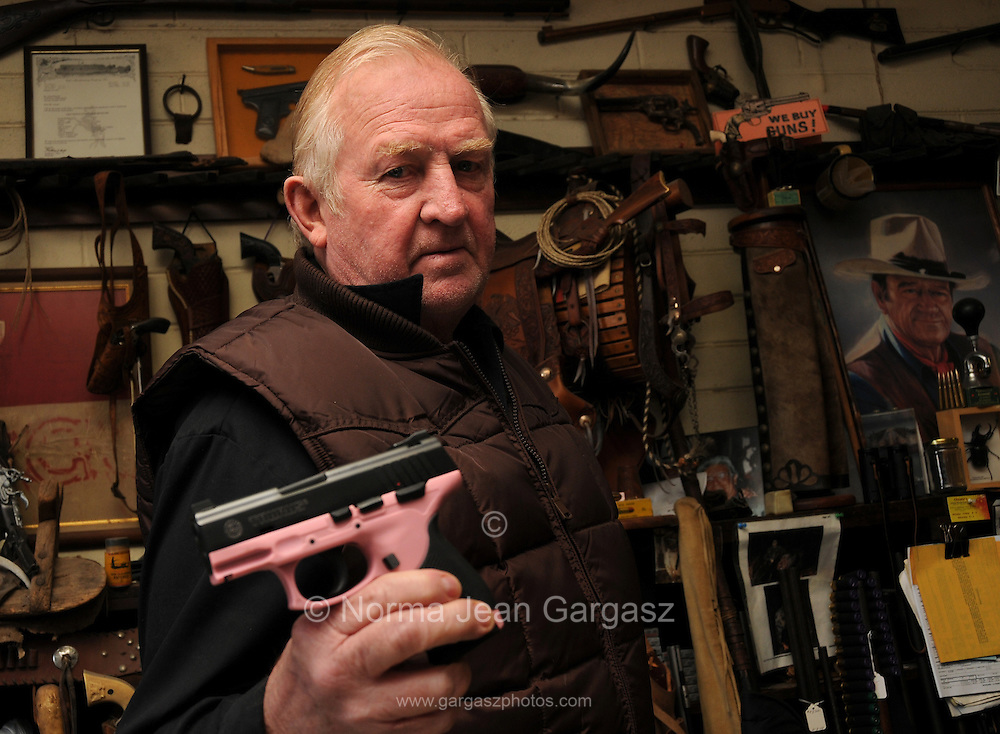 Jim Sharrah, owner of Frontier Gun Shop, Tucson, Arizona, USA, has been in business for 40 years.