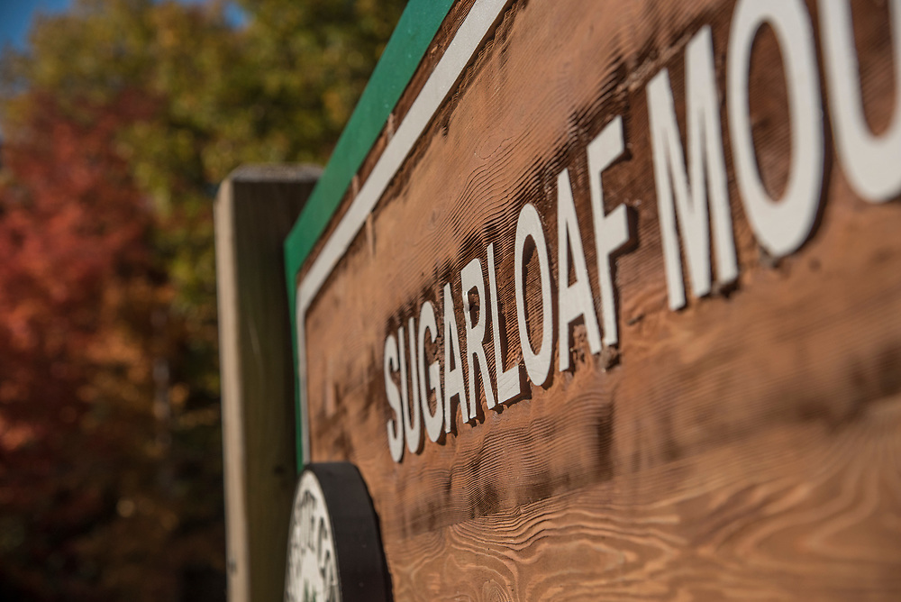 Signage at Sugarloaf Mountain natural area near Marquette, Michigan.