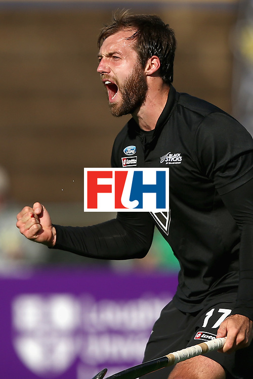JOHANNESBURG, SOUTH AFRICA - JULY 17: Nic Woods of New Zealand celebrates scoring his sides second goal during the Group A match between Spain and New Zealand on day five of the FIH Hockey World League - Men's Semi Finals on July 17, 2017 in Johannesburg, South Africa.  (Photo by Jan Kruger/Getty Images for FIH)