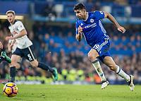 Football - 2016/2017 Premier League - Chelsea V Tottenham Hotspur<br /> <br /> Diego Costa of Chelsea with Jan Vertonghen of Tottenham in the background at Stamford Bridge.<br /> <br /> COLORSPORT/DANIEL BEARHAM
