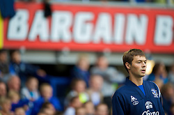 "LIVERPOOL, ENGLAND - Sunday, August 30, 2009: Everton's ""bargain"" new signing Diniyar Bilyaletdinov warms up during the Premiership match against Wigan Athletic at Goodison Park. (Photo by David Rawcliffe/Propaganda)"