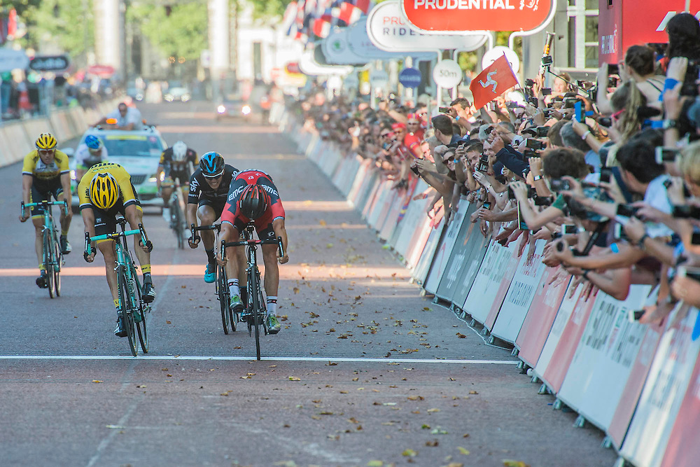 Jean Pierre Drucker (Lux - BMC Racing - in red) winning The London-Surrey Classic professional race. Prudential RideLondon a festival of cycling, with more than 95,000 cyclists, including some of the world's top professionals, participating in five separate events over the weekend of 1-2 August.