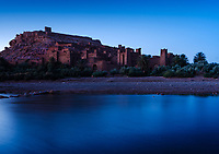 AIT BEN HADDOU, MOROCCO - CIRCA APRIL 2017: View of the Ksar Ait Ben Haddou at dusk.