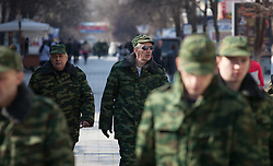 Crimea one day before the referendum. A crimean self defence force unit patrolling thorough the streets at morning. Simferopol, . Saturday, 15th March 2014. Picture by Daniel Leal-Olivas / i-Images