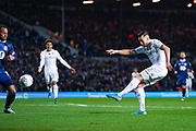 Leeds United midfielder Jack Harrison (22) takes a shot during the EFL Sky Bet Championship match between Leeds United and Blackburn Rovers at Elland Road, Leeds, England on 9 November 2019.
