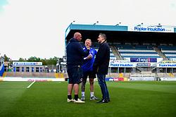 Ground staff Daryle Sullivan and Ben Ford with Wael Al Qadi prior to kick off - Mandatory by-line: Ryan Hiscott/JMP - 04/05/2019 - FOOTBALL - Memorial Stadium - Bristol, England - Bristol Rovers v Barnsley - Sky Bet League One