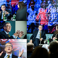 Brussels, Belgium 22 January 2015<br /> Bill and Melinda Gates participate in a panel discussion during a conference hosted by The Economist.<br /> Photo: Ezequiel Scagnetti