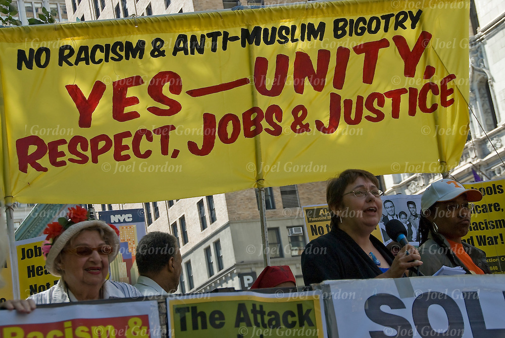 On Sept.11 the Tea Party and its racist allies demonstrate for the proposed Islamic community center several blocks from the World Trade Center site. The rally is against islamophobia, hate, bigotry and racism against Muslims, Arabs  and South Asians in the US.