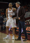 Dec 19, 2017; Los Angeles, CA, USA; Southern California Trojans head coach Andy Enfield talks with guard Jordan McLaughlin (11) during an NCAA basketball game against the Princeton Tigers at Galen Center. Princeton defeated USC 103-93 in overtime.