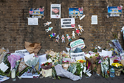 © Licensed to London News Pictures. 20/06/2017. London, UK. Flowers left beneath a bridge in Finsbury Park close to the scene of the attack. A man drove a white van into a crowd of Muslims in Finsbury Park after Ramadan prayers early on the morning of Monday 19 June 2017, killing one man and injuring a number of others. Photo credit: Rob Pinney/LNP
