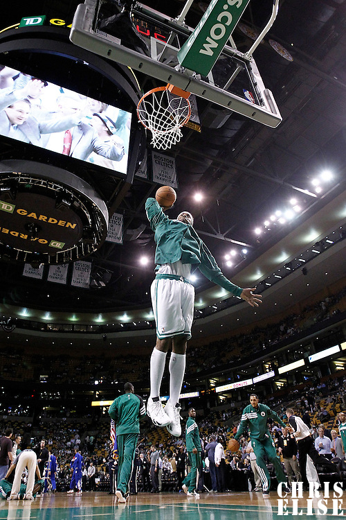 21 May 2012: Boston Celtics point guard Keyon Dooling (51) dunks the ball as he warms up prior to the Boston Celtics 101-85 victory over the Philadelphia Sixer, in Game 5 of the Eastern Conference semifinals playoff series, at the TD Banknorth Garden, Boston, Massachusetts, USA.