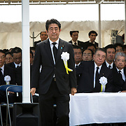 NAGASAKI, JAPAN - AUGUST 9 : Japanese Prime Minister Shinzo Abe walks to deliver a speech during the 71st Anniversary of atomic bombing on Nagasaki at Nagasaki Peace Park, Nagasaki, southern Japan, Tuesday, August 9, 2016. Japan marked the 71st anniversary of the atomic bombing on Nagasaki. On August 9, 1945, during World War II, the United States dropped the second Atomic bomb on Nagasaki city, killing an estimated 40,000 people which ended World War II. (Photo by Richard Atrero de Guzman/NURPhoto)