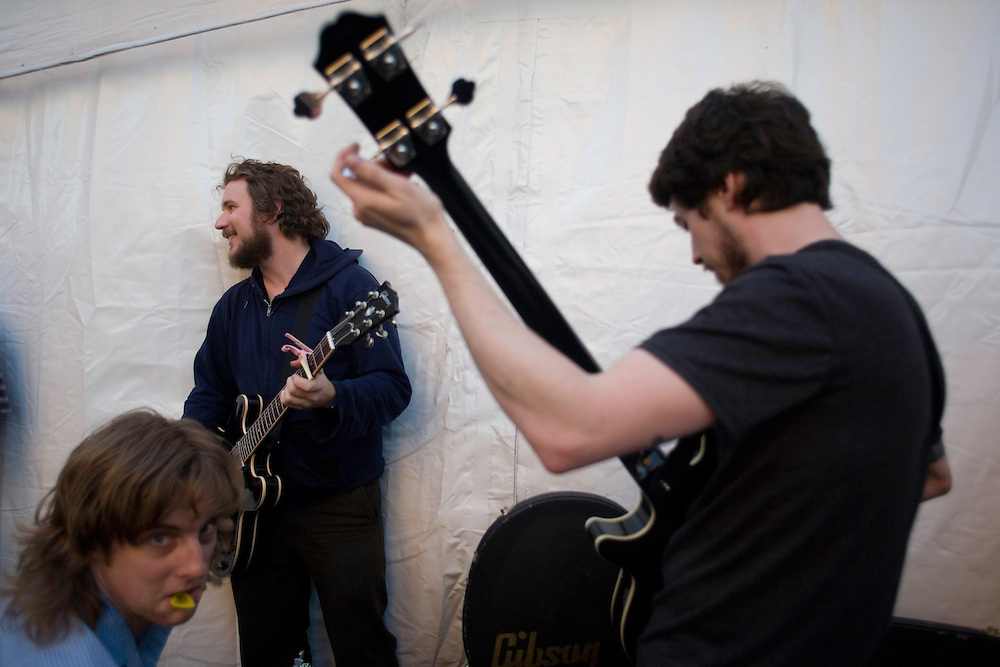 "My Morning Jacket members, from left, Carl Broemel, Jim James and ""Two Tone"" Tommy backstage at the Levi/FADER Fort during the 2008 SXSW music festival in Austin, TX."