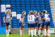 Lea Le Garrec (Brighton & Hove) celebrates her goal to give Brighton & Hove Albion FC 2-0 lead in the first half during the FA Women's Super League match between Brighton and Hove Albion Women and Birmingham City Women at the American Express Community Stadium, Brighton and Hove, England on 17 November 2019.