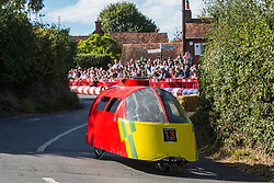 Cookham Dean, UK. 1 September, 2019. A custom-built kart in the form of an air ambulance competes in the Cookham Dean Gravity Grand Prix in aid of the Thames Valley and Chiltern Air Ambulance.
