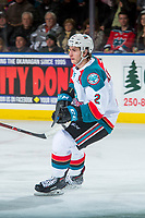 KELOWNA, CANADA - MARCH 3:  James Hilsendager #2 of the Kelowna Rockets skates against the Spokane Chiefs on March 3, 2018 at Prospera Place in Kelowna, British Columbia, Canada.  (Photo by Marissa Baecker/Shoot the Breeze)  *** Local Caption ***