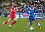 Nathaniel Mendez-Laing & James Wilson during the Sky Bet League 1 match between Rochdale and Oldham Athletic at Spotland, Rochdale, England on 24 October 2015. Photo by Daniel Youngs.