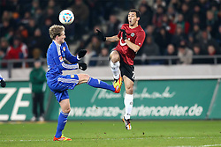 10.12.2011, AWD Arena, Hannover, GER, 1.FBL, Hannover 96 vs Bayer 04 Leverkusen, im Bild Andre Schuerrle (Bayer 04 Leverkusen) im Zweikampf mit Sergio Pinto (Hannover 96) // during the Match GER, 1.FBL, Hannover 96 vs Bayer 04 Leverkusen, AWD Arena, Hannover, Germany, on 2011/12/10. EXPA Pictures © 2011, PhotoCredit: EXPA/ nph/ SielskiSielski..***** ATTENTION - OUT OF GER, CRO *****