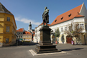 Town square in Györ, Gyoer, Hungary, Europe