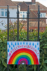 ©Licensed to London News Pictures 26/03/2020  <br /> Sidcup, UK. A positive vibes rainbow outside a home in Sidcup, South East London. Children are putting up colourful rainbow artwork on their homes to show gratitude and support for NHS workers. credit:Grant Falvey/LNP