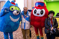 Official mascots with journalist from (L) Algeria and (R) Malesia near ball room where will be Motor Activity Training Program (MATP) during 2013 Special Olympics World Winter Games PyeongChang at Alpensia Resort on February 3, 2013...South Korea, PyeongChang, February 3, 2013..Picture also available in RAW (NEF) or TIFF format on special request...For editorial use only. Any commercial or promotional use requires permission...Photo by © Adam Nurkiewicz / Mediasport