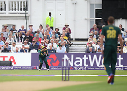 Joe Leach of Worcestershire Rapids (Not Pictured) is caught out by SJ Mullaney of Notts Outlaws (L) - Mandatory by-line: Jack Phillips/JMP - 09/07/2016 - CRICKET - Trent Bridge - Nottingham, United Kingdom - Nottingham Outlaws v Worcestershire Rapids - Natwest T20 Blast