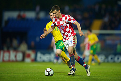 OSIJEK, CROATIA - Sunday, May 23, 2010: Croatia's Dejan Lovren in action against Wales during the International Friendly match at the Stadion Gradski Vrt. (Pic by David Rawcliffe/Propaganda)