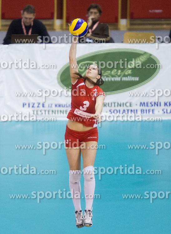 Elena Kucej of Nova KBM Branik during match between OK Nova KBM Branik and OK Calcit Volleyball in Finals of Slovenian Women Volleyball Cup 2013/14 on December 27, 2013 in Hoce, Slovenia.  Calcit Volleyball won 3-1 and became Slovenian Cup Champion 2013/14. Photo by Vid Ponikvar / Sportida