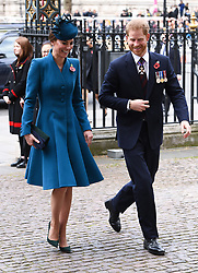 The Duchess of Cambridge (left) and The Duke of Sussex attend the Anzac Day Service of Commemoration and Thanksgiving at Westminster Abbey, London. Photo credit should read: Doug Peters/EMPICS