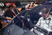 The 61. IAA (Internationale Autoausstellung) 2005 is one of the World's biggest trade fairs of the automotive industry..Opel Astra with special panoramic windshield.