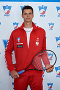 Warsaw, Poland - 2017 December 11: Tennis' player Hubert Hurkacz from Poland poses to the picture while Photo Session of Davis Cup Team of Polish Tennis Association at Regent Hotel on December 11, 2017 in Warsaw, Poland.<br /> <br /> Mandatory credit:<br /> Photo by &copy; Adam Nurkiewicz / Mediasport<br /> <br /> Adam Nurkiewicz declares that he has no rights to the image of people at the photographs of his authorship.<br /> <br /> Picture also available in RAW (NEF) or TIFF format on special request.<br /> <br /> Any editorial, commercial or promotional use requires written permission from the author of image.