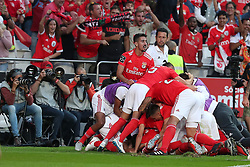 October 7, 2018 - Lisbon, Portugal - Benfica's Suisse forward Haris Seferovic celebrates with teammates after scoring during the Portuguese League football match SL Benfica vs FC Porto at the Luz stadium in Lisbon on October 7, 2018. (Credit Image: © Pedro Fiuza/ZUMA Wire)