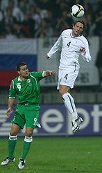 Marko Suler (4) at the fourth round qualification game of 2010 FIFA WORLD CUP SOUTH AFRICA in Group 3 between Slovenia and Northern Ireland at Stadion Ljudski vrt, on October 11, 2008, in Maribor, Slovenia.  (Photo by Vid Ponikvar / Sportal Images)